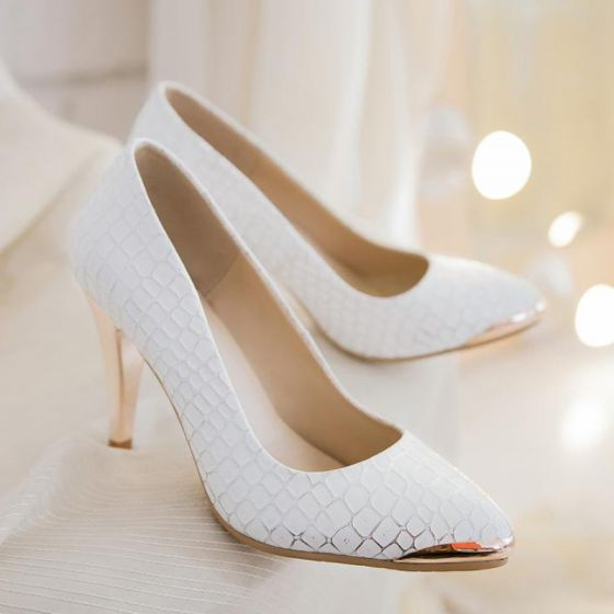 Moda Blanco 2017 9 cm Tacones Oficina A rayas Snakeskin Imprimir High Heels Punta Estrecha Zapatos De Mujer