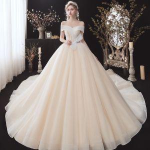 Niedrogie Szampan ślubna Suknie Ślubne 2020 Suknia Balowa Przy Ramieniu Kótkie Rękawy Bez Pleców Kokarda Cekinami Tiulowe Trenem Katedra