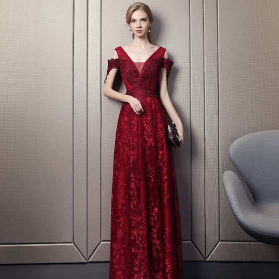 fb8d32efb41 Sexy Burgundy Evening Dresses 2018 A-Line   Princess V-Neck Strapless Short Sleeve  Star Appliques Lace ...