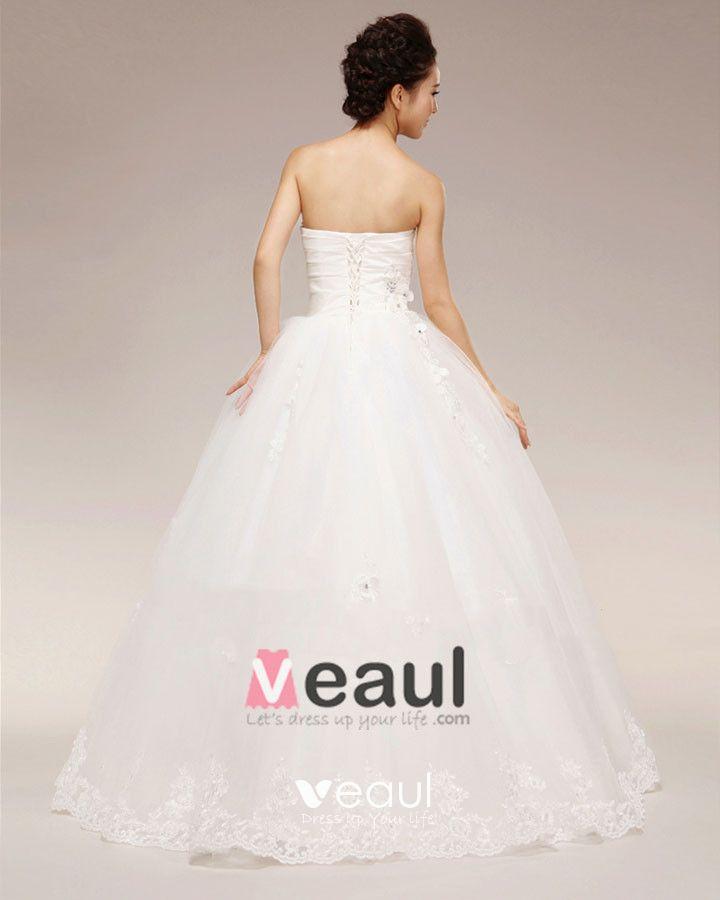 Graceful Applique Beading Ruffles Sweetheart Tulle Ball Gown Wedding Dress