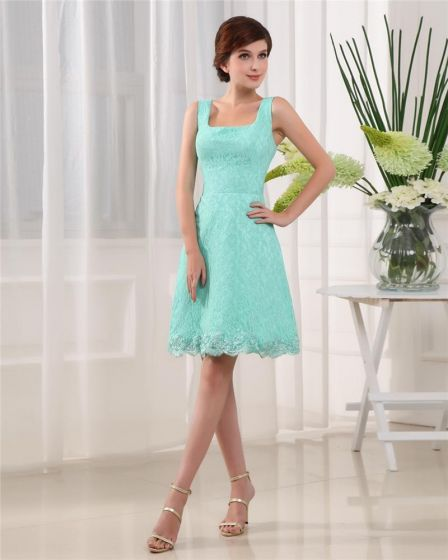 Sleeveless Thigh Length Square Neckline Lace Woman A-Line Little Black Party Dress