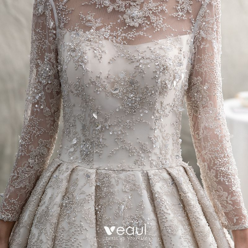 Luxury / Gorgeous Ivory See-through Wedding Dresses 2019 A-Line / Princess Scoop Neck Long Sleeve Backless Handmade  Beading Pearl Sequins Cathedral Train Ruffle