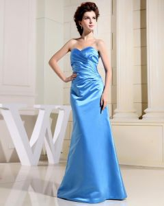 Strapless Sleeveless Zipper Pleated Floor Length Charmeuse Silk Woman Evening Dresses