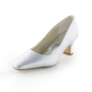 Classic White Pumps Low Heel Satin Bridal Wedding Shoes
