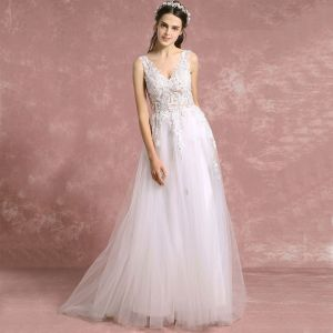 Elegant Ivory Pierced Wedding Dresses 2018 A-Line / Princess V-Neck Sleeveless Backless Appliques Lace Sequins Sweep Train