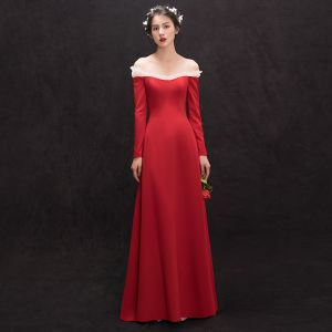 Modest / Simple Red Evening Dresses  2018 Sheath / Fit Off-The-Shoulder Long Sleeve Floor-Length / Long Backless Formal Dresses