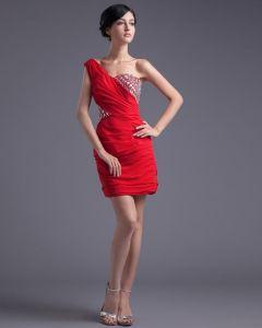 La Gasa De La Moda Con Cuentas Vestido De Coctel De La Longitud Del Muslo De Un Hombro Plisado