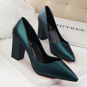 Vintage / Retro Ink Blue OL Office Pumps 2020 8 cm Thick Heels Pointed Toe Pumps