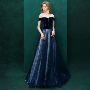 Sexy Navy Blue Evening Dresses  2019 A-Line / Princess Suede Star Off-The-Shoulder Backless Short Sleeve Sweep Train Formal Dresses