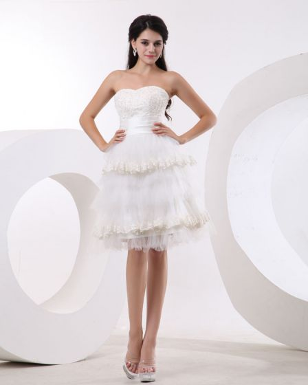 Yarn Strapless Short Bridal Gown Wedding Dress