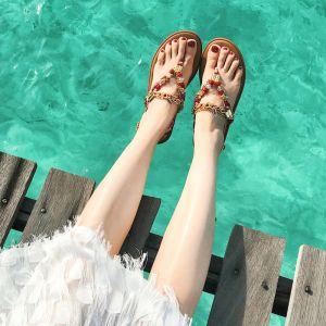 Böhmen Luxus / Herrlich Braun Sandalen Damen Strand Garten / Im Freien Peeptoes Sommer Perlenstickerei Kristall Strass Flache Sandaletten Damenschuhe 2019