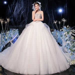 Luxury / Gorgeous Champagne Bridal Wedding Dresses 2020 Ball Gown Spaghetti Straps Sleeveless Backless Handmade  Beading Cathedral Train Ruffle