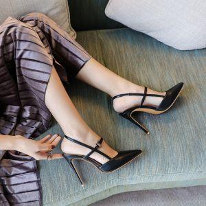 Sexy Schwarz Strassenmode Sandalen Damen 2020 Knöchelriemen 10 cm Stilettos Spitzschuh Sandaletten