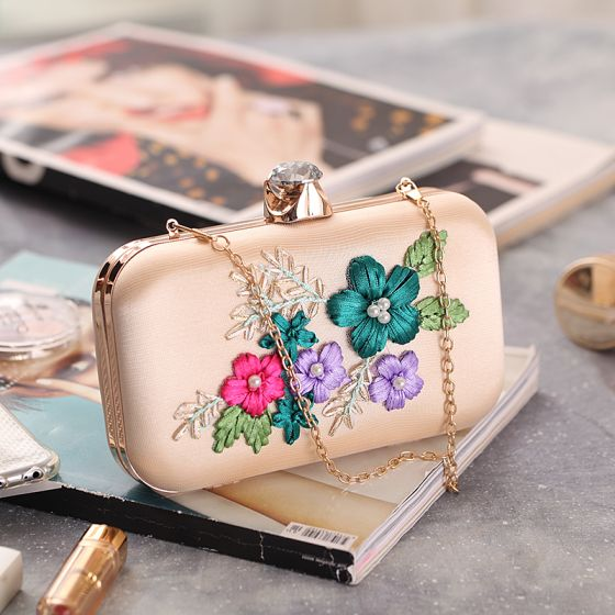 Chic / Beautiful Beige Beading Pearl Flower Metal Clutch Bags 2018