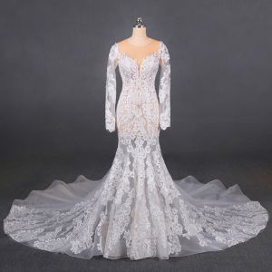 Illusion Champagne Summer Bridal Wedding Dresses 2020 Trumpet / Mermaid See-through Scoop Neck Long Sleeve Appliques Lace Beading Chapel Train Ruffle