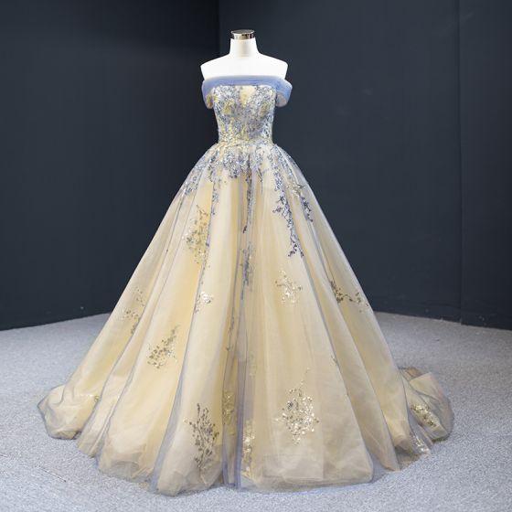 Uroczy Błękitne Złote Sukienki Wieczorowe 2020 Princessa Przy Ramieniu Kótkie Rękawy Cekinami Cekiny Trenem Sąd Wzburzyć Bez Pleców Sukienki Wizytowe