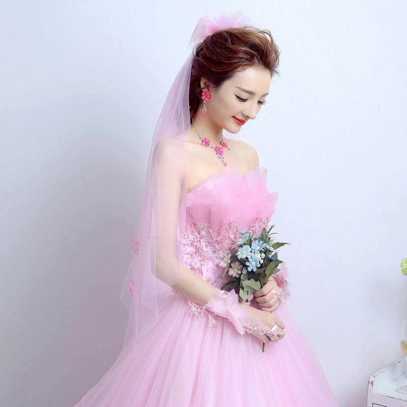 Schöne 2017 Rosa Brautkleider Spitze Applikationen Rückenfreies Korsett Riemchen A Linie Hochzeit Ballkleider