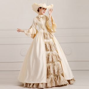 Vintage / Retro Puffy Ball Gown Champagne Prom Dresses 2018 High Neck Long Sleeve Charmeuse Lace-up Beading Sequins Formal Dresses