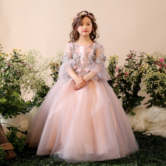 Chic / Beautiful Church Wedding Party Dresses 2017 Flower Girl Dresses Grey Ball Gown Floor-Length / Long 3/4 Sleeve Scoop Neck Flower Appliques Pearl