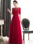 Elegant Evening Dresses 2016 A-line Square Neckline Beading Sequins Ruffle Burgundy Tulle Long Dress