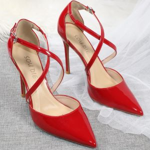 Sexy Rot Abend Damenschuhe 2020 Lackleder X-Riemen 10 cm Stilettos Spitzschuh High Heels