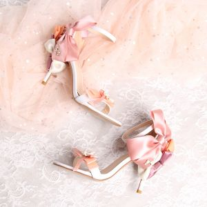 Unique Rougissant Rose Mariage Sandales 2019 PU Été Perlage Perle 9 cm Chaussure De Mariée