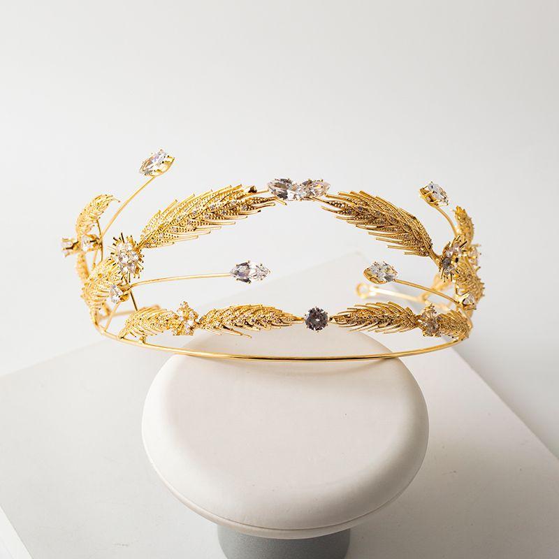 Luxury / Gorgeous Gold Headpieces Bridal Hair Accessories 2020 Metal Rhinestone Wedding Accessories