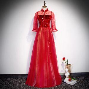 Elegant Red Evening Dresses  2020 A-Line / Princess High Neck Star Sequins Bow 3/4 Sleeve Backless Floor-Length / Long Formal Dresses