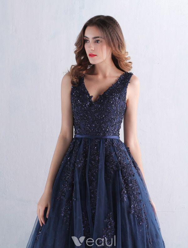 Elegante Ballkleider 2016 Mit V-ausschnitt-spitze Mit Pailletten Marineblau Tüll Langen Kleid