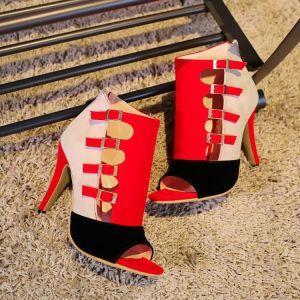 Chic / Belle Rouge Désinvolte Sandales Femme 2020 10 cm Talons Aiguilles Sandales Peep Toes / Bout Ouvert