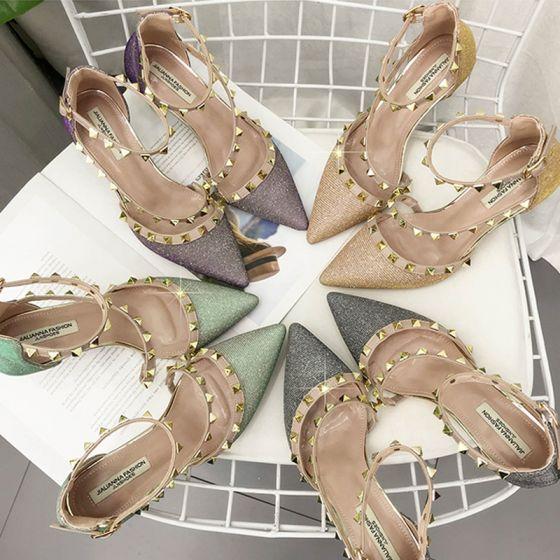 Scintillantes Doré Chaussures Femmes 2018 Polyester Rivet Paillettes 7 cm Talons Aiguilles À Bout Pointu Talons Hauts