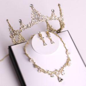 Mooie / Prachtige Goud Tiara Nek Ketting Oorbellen Bruidssieraden 2019 Metaal Kralen Kristal Rhinestone Huwelijk Accessoires