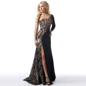 3e5e900f974464 Twee kleuren Zwarte Maxi-jurken 2018 Trompet   Zeemeermin Een Schouder Lange  Mouwen Split Voorzijde