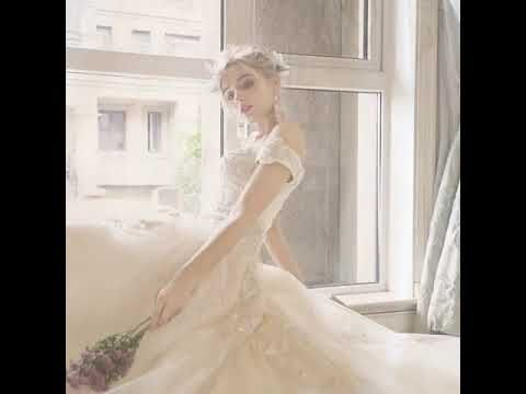 Chic / Beautiful Champagne Wedding Dresses 2019 A-Line / Princess Off-The-Shoulder Beading Rhinestone Lace Flower Short Sleeve Backless Royal Train