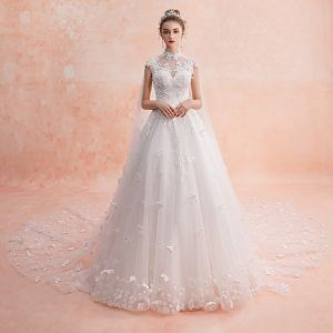 Chinese style Ivory See-through Wedding Dresses 2019 A-Line / Princess High Neck Sleeveless Backless Appliques Flower Beading Glitter Tulle Watteau Train Ruffle