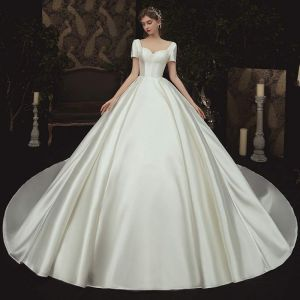 Modest / Simple Champagne Satin Bridal Wedding Dresses 2020 Ball Gown Square Neckline Short Sleeve Backless Beading Chapel Train Ruffle