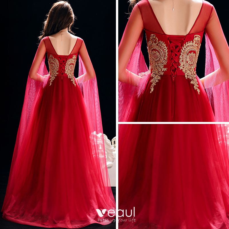 Chic / Beautiful Burgundy See-through Evening Dresses  2019 A-Line / Princess Scoop Neck Long Sleeve Gold Appliques Lace Floor-Length / Long Ruffle Backless Formal Dresses
