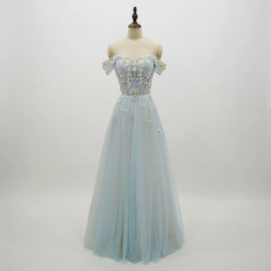 Chic / Beautiful Sky Blue Prom Dresses 2018 A-Line / Princess Lace Flower Appliques Pearl Off-The-Shoulder Backless Short Sleeve Floor-Length / Long Formal Dresses