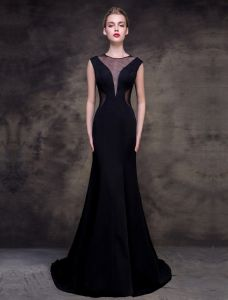 2016 Elegant Scoop Neckline Tulle V-neck Black Evening Dress