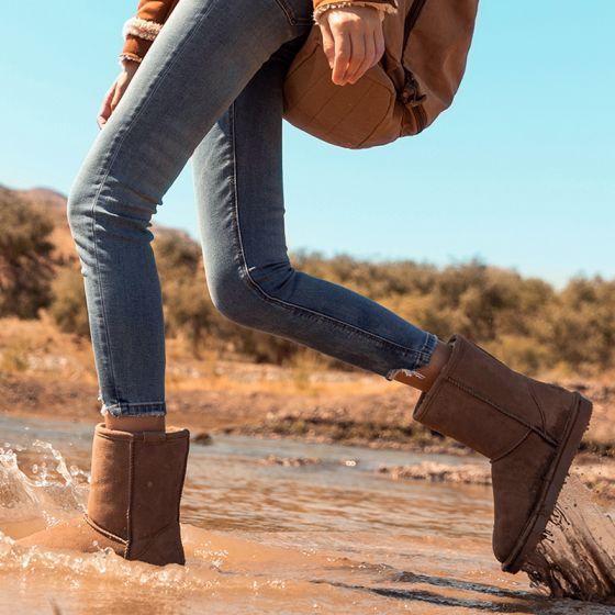 Schlicht Khaki Schneestiefel 2020 Wasserdichte Leder Mitte Der Wade Winter Flache Stiefel Damen