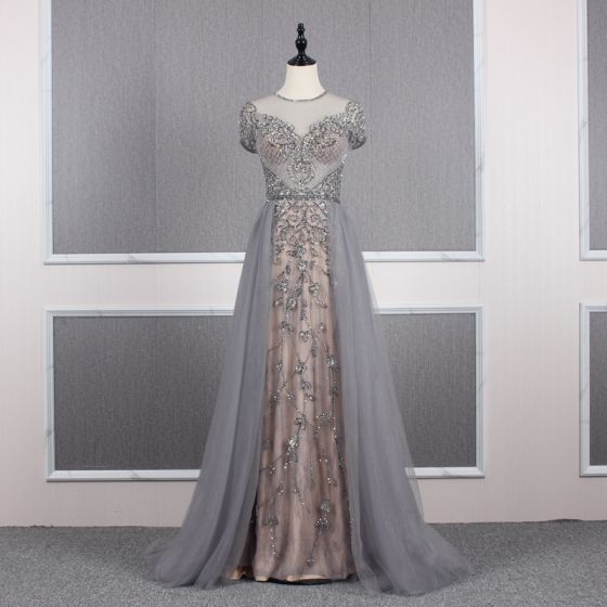 High-end Grey Champagne See-through Evening Dresses  2020 A-Line / Princess Scoop Neck Short Sleeve Handmade  Beading Sweep Train Ruffle Formal Dresses