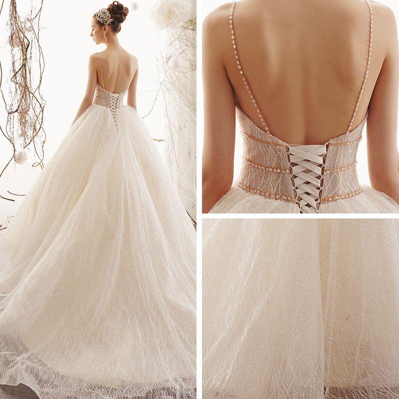 Bling Bling Champagne Wedding Dresses 2019 A-Line / Princess Spaghetti Straps Sleeveless Backless Beading Glitter Tulle Court Train Ruffle