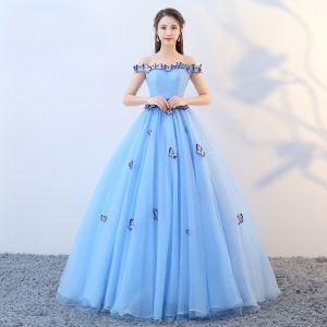 Hermoso Azul Vestidos de gala 2019 A-Line / Princess Fuera Del Hombro Con Encaje mariposa Sin Mangas Sin Espalda Largos Vestidos Formales