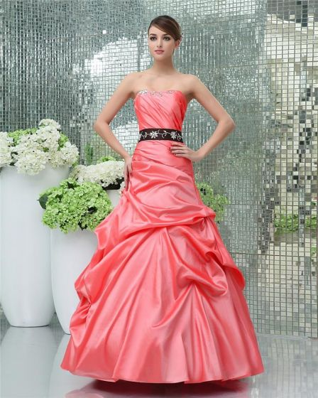 Ball Gown A Line Strapless Floor Length Beaded Embroidery Satin Prom Quinceanera Prom Dress