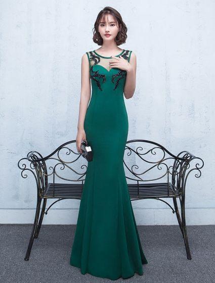 Sexy Vestido De Noche Sin Respaldo 2017 Vestido Formal De Raso Verde Largo