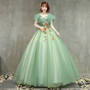 Chic / Beautiful Sage Green Prom Dresses 2019 Ball Gown V-Neck Lace Flower Short Sleeve Backless Floor-Length / Long Formal Dresses