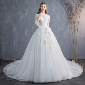 Affordable Ivory See-through Wedding Dresses 2019 A-Line / Princess Scoop Neck Puffy 3/4 Sleeve Backless Appliques Lace Cathedral Train Ruffle