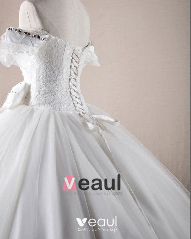 Solid Applique Beading Bateau Bow Decoration Organza Ball Gown Wedding Dress