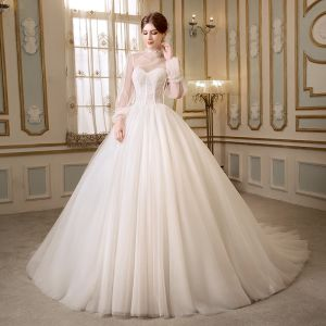 Modest / Simple Ivory Wedding Dresses With Shawl 2018 Ball Gown Sweetheart Sleeveless Backless Chapel Train Ruffle