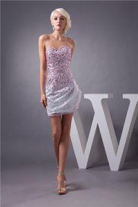Glittrig Cocktailklänning Silver Paljett Med Rosa Kristall Kort Festklänningar